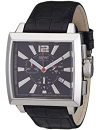 Esprit Men's Watch with Black Dial and Black Leather Strap EL101031F01