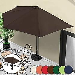Demi-Parasol - Ø 3 m, avec Manivelle, Protection UV 30+, Polyester, Couleurs au Choix - Demi-Parasol pour Balcon, Terrasse, Jardin