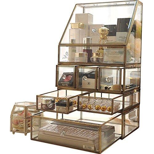 Vintage Glas Kosmetik Aufbewahrung Organizer fuer Bürstenhalter/Makeup/Pinsel/Parfum/Jewelry Kuehlschrank Drawer Set Storage Antik Deko Box