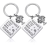 2 Pack Teacher Keychains Thanks Gift for Teacher with 2 Gift Boxes, Teachers Appreciation Gift Key Chain for Birthday Teacher\'s Day Thanksgiving Graduation (A)