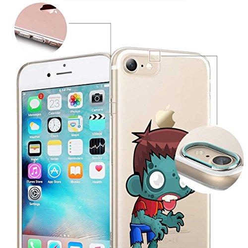 finoo |Iphone 6/6S Weiche flexible lizensierte Silikon-Handy-Hülle | Transparente TPU Cover Schale mit Halloween Motiv | Tasche Case mit Ultra Slim Rundum-schutz | Zombie Mädchen Zombie Junge