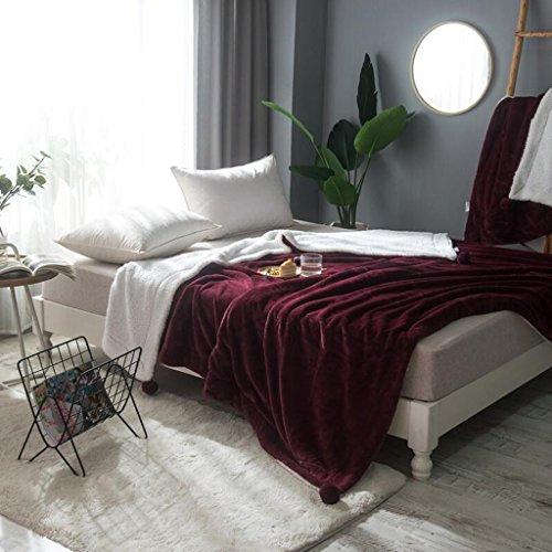 Rollsnownow Rotwein Solid Color Verdickung Winterdecke Kleine Frische Flanell Sofa Cover Blanket ( größe : 180*200cm )