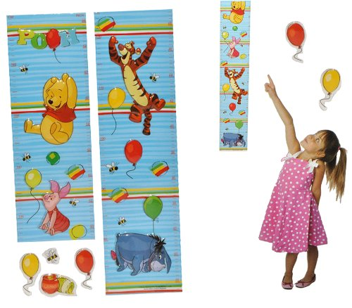 the Pooh - Wandtattoo selbstklebend mit 4 Sticker - wasserfest - Messlatte Bär Disney Kinderzimmer Wandsticker Aufkleber Pop-Up (Topf Teddybär)