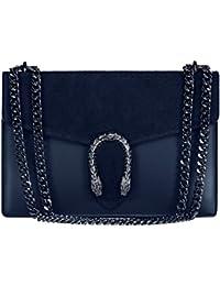 5af6adb1c5 #MYITALIANBAG RONDA Sac à main Baguette Pochette, sac à bandoulière avec  chaîne en nickel