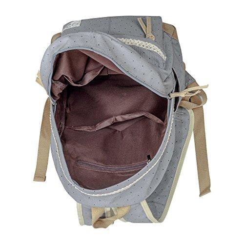 G2Plus Leichte Schulrucksack mit Polka Dots Nette Canvas Schultaschen Damen Mädchen EXTRA Groß Kinderrucksack Daypacks Rucksäcke Modische mit Laptop Fach 28 * 42 * 13 cm – Little Princess (Grau 1) - 5