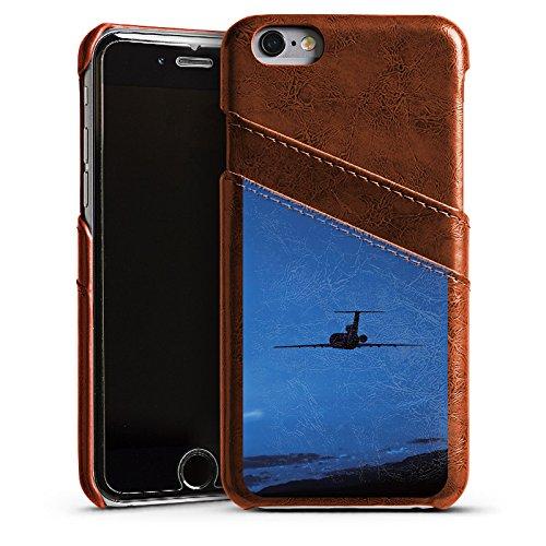 Apple iPhone 6 Housse Étui Silicone Coque Protection Avion mouches Ciel Étui en cuir marron
