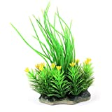 Sourcingmap Plástico Tanque De Peces Planta en forma de flor, 15x 15cm, color verde
