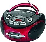 Stereo-Radio Ghettoblaster CD-Player Kassettendeck Tragbar Stereoanlage Stereo MP3 AUX-IN (Radiorecorder, Teleskopantenne, Farbe: Rot)