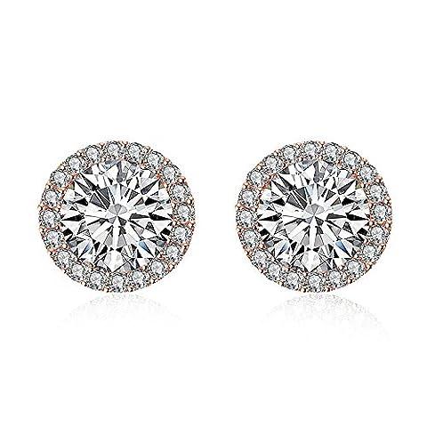 Bodya Rose/plaqué or blanc Oxyde de Zirconium Cristal Coussin rond Halo Bijoux tendance Boucles d'oreille à tige - rose gold