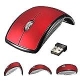 Nifogo Maus Kabellos Faltbar Wireless Mouse 2,4GHz Mini USB Empfänger für PC Laptop (Rot)