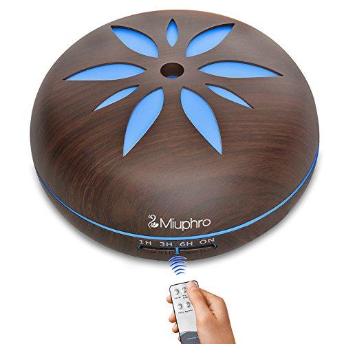 Aroma Difusor, Miuphro 550 ml Humidificador Ultrasónico, Silencioso Difusor de Aceites Esenciales, 7-Color LED, 4 Ajustes de Tiempo, Auto-Apaga, para Yoga, Aromaterapia, Hogar (Marrón)