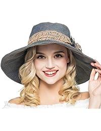 Elonglin Femme Capeline Bord Large Chapeau de Soleil Anti-UV Chapeau de Plage Avec Fleur Pilable Respirant Pour Voyager Randonnée En Coton