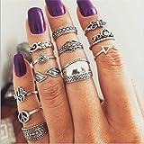 Elistelle 14 pcs Midi Ring Set Damen Silber Boho Ringe über Knöchel Finger Tip Ring Schmuck Set