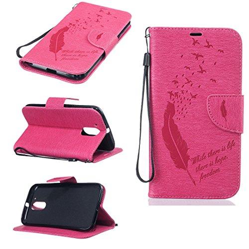 Nancen Compatible with Handyhülle Motorola Moto G4 / G4 Plus (5,5 Zoll) Ledertasche Flip Case/Handyhülle, Federn und Vögel Muster Handy Zubehör Schutzhülle mit Standfunktion