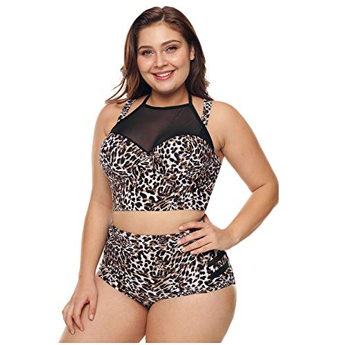 Xinvivion Badeanzug Damen Bademode Tankinis - Neckholder Badebekleidung Badeanzug Bikini mit Höschen (2 Stücke) M - XXXL -