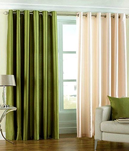 Green Curtains brown cream and green curtains : Italian Fab Green & Cream Plain Crush Polyester Curtains (Set of 2 ...