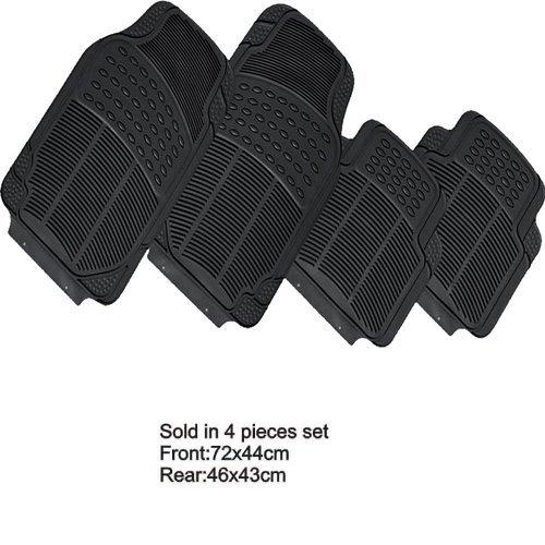 Fußmatten Autoteppich Gummi 100{22a4c8b9d72567118238f21ce54d8e84c653c0183573c66a716a182f1efb20a2} Schwarzen Teppiche Innen Universal 4Stück 2vorne 2hinten waschbar Nicht individualisierte mit pretagli