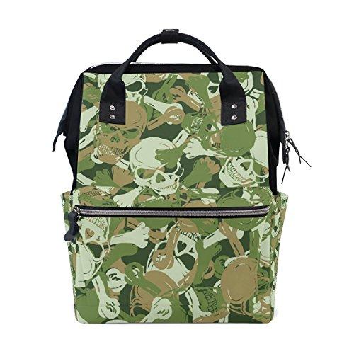 Preisvergleich Produktbild coosun Totenkopf Camouflage Muster Wickeltasche Rucksack, großes Fassungsvermögen muti-function Reise Rucksack