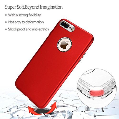 iPhone 7 Plus Hülle, E-Lush TPU Soft Silikon Tasche Transparent Schale Clear Klar Hanytasche für iPhone 7 Plus (5.5 Zoll) Durchsichtig Rückschale Ultra Slim Thin Dünne Schutzhülle Weiche Flexibel Hand Rot