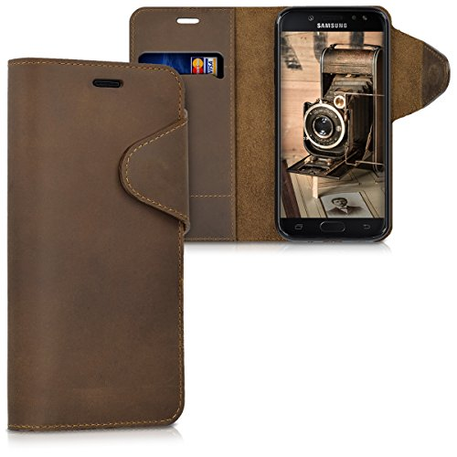 kalibri Samsung Galaxy J5 (2017) DUOS Hülle - Leder Handyhülle für Samsung Galaxy J5 (2017) DUOS - Braun - Handy Wallet Case Cover