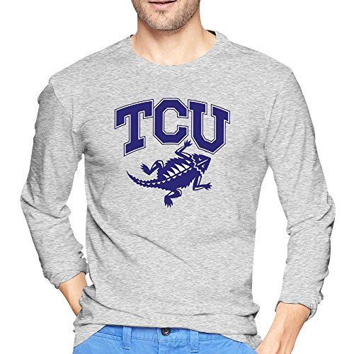 Herren Texas TCU gehörnten Frösche Arch Power Maskottchen TShirt Lange Ärmel, Herren, asche (Frosch Langarm-shirt)