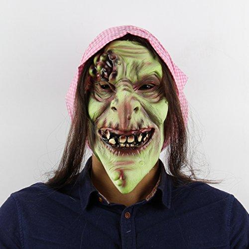 HLLPG Halloween Alte Hexe Maske Latex Partei Horror Erwachsene Scary Kostüm Zubehör Neuheit Masken Kopfmaske