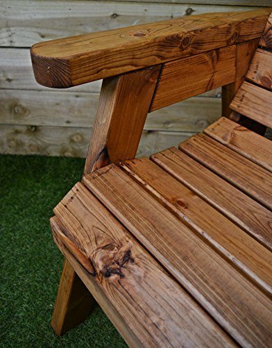 Hand Made Traditional 2 Seater Chunky Rustic Wooden Garden Bench Furniture