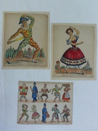 Kostüm Columbine - Mr. G. French as Harlequin / Madame Auriol as Columbine / Pollock's new Pantomime Characters. Zusammen 3 handcolorierte Holzstiche