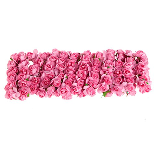 Exing 144 stücke DIY Rose Mini Künstliche Blumen Bouquet Einfarbig Hochzeit Dekoration (Pink Red)