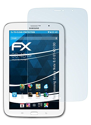 Samsung Galaxy Note 8.0 (GT-N5100) Schutzfolie - 2 x atFoliX FX-Clear kristallklare Folie Displayschutzfolie