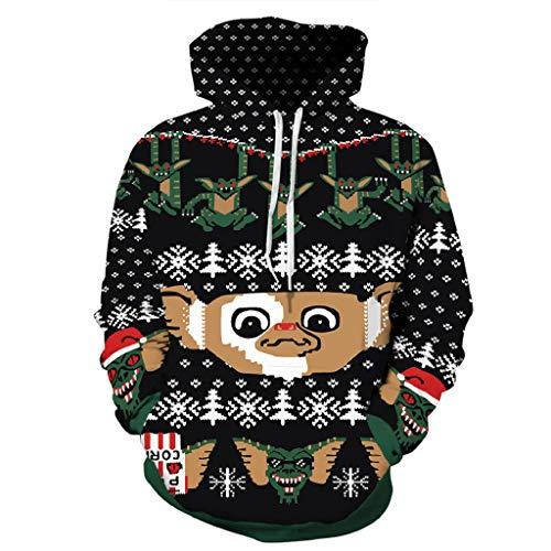 Soupliebe Frauen Weihnachtsbaum Druck Lange Hülsen Pullover Sweatshirt Blusen Hemd Kleidung Kapuzen Langarmshirt Sweatjacke Kapuzenpullover Hoodie