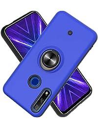 Funda para Huawei Enjoy 10 Plus Soft TPU + Duro PC Doble Parachoques,Giroscopio Rotatorio,Botón de Descompresión, con Soporte de Anillo Funda Protectora Serie -Azul Marino