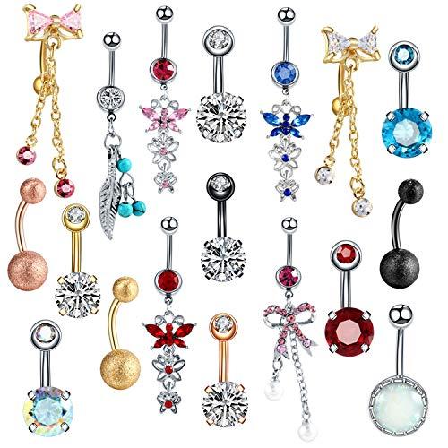 1PC Stahlbauchn Ringe Piercings Bauch baumeln Nabel-Piercing Nombril Piercing Oreja Ohr Piercings Körperschmuck Pircings, A0916,14G 1.6x10x5mm