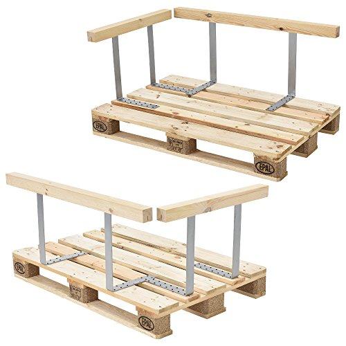 [en.casa] Palettensofa - 3-Sitzer mit Kissen - (weiß) komplettes Set inkl. Arm- und Rückenlehne - 3