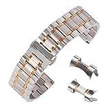 22mm gebürstet Band ss Uhrband Inox-Stahl Uhr gerade und gebogene Ende Zweiton Silber und Rotgold