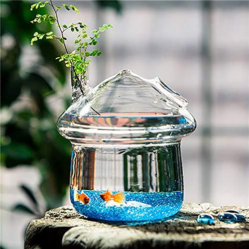 REWQ Marina Aquarium, Kreative hängende kleine Mini saftige transparente Wasserkulturglasvase aus Aquarium-Mushroom Type Large