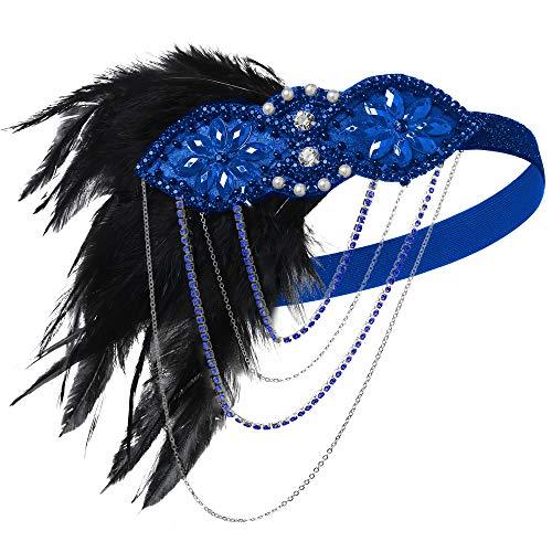 Pailletten Flapper Blau Kostüm - ArtiDeco 1920s Stirnband Damen Gatsby Kostüm Accessoires 20er Jahre Flapper Feder Haarband (Blau)