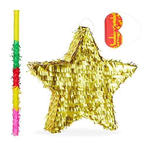 Relaxdays 3 TLG. Pinata Set Stern, mit Stock und Maske, Piñata für Kinder & Erwachsene, zum selbst Befüllen, Pinata Zubehör, Gold