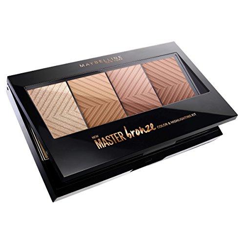 Make-up-palette Bronze (Maybelline Master Bronze Palette, 3 schimmernde Bronzer und 1 strahlender Highlighter in einem Kit, für einen sommerlichen Teint, 13 g)