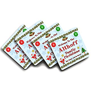 Althoff Family Christmas, Coaster Set, Personalised Family Surname, Christmas Themed Design, Good Quality Set of 4, Size 90mm x 90mm Approx.