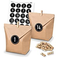 DIY Matches21?Calendrier de l'Avent Kit de bricolage et remplir de sacs papier Pinces Nombre Stickers Noir