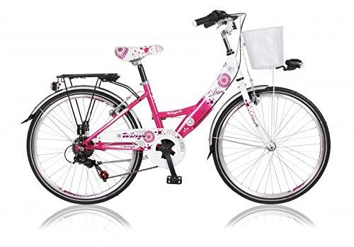 26 Zoll Cityrad Cityfahrrad Mädchenfahrrad Kinderfahrrad Citybike City Fahrrad 6 Gang Shimano STVO DIVA pink