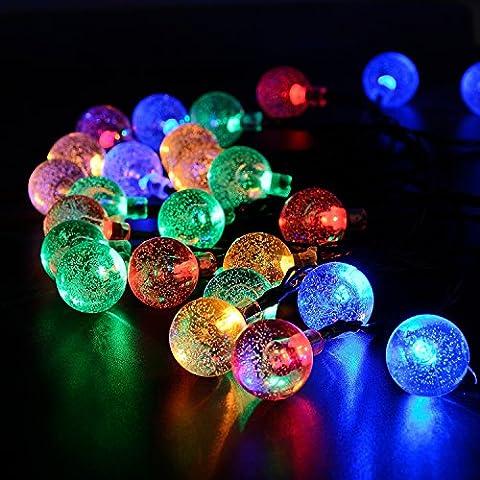 liqoo led solar cadena de luces metros bolas de decoracin coloridos resistente al