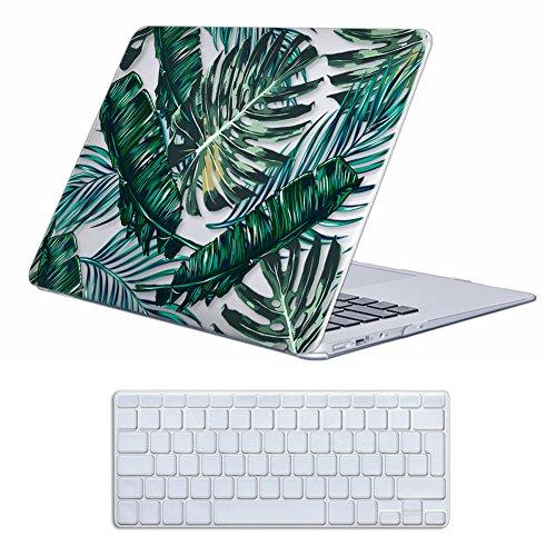 Case MacBook Air 13 Hülle ,iCasso Palm Leaf Ultra Slim Dünn Kratzfeste matt rutschfest Hartschale Kunststoff Schutzhülle Snap case für MacBook Air 13 Zoll (Modell: A1369 / A1466) Leaf Design Snap