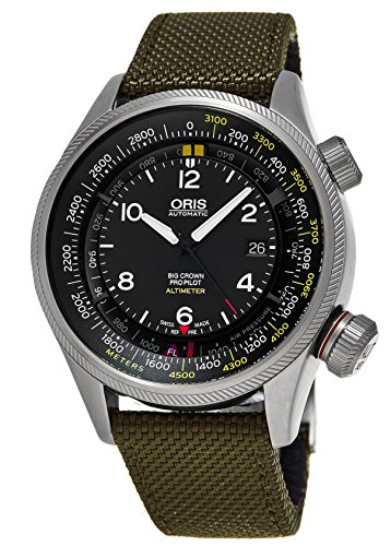 Oris Men's Green Steel Case Automatic Black Dial Analog Watch 73377054164LS14
