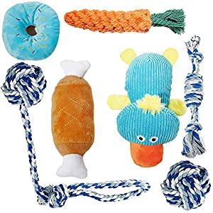 Paket enthalten: 3 X Quietschspielzeug 2 X Kauspielzeug 1 X Seil Karotte 1 X Seilball 1 x Wäschesack  Quietschspielzeug: Verwenden Sie es, um die Aufmerksamkeit von Haustieren auf sich zu ziehen, um überschüssige Energie abzulassen, falls das Haustie...