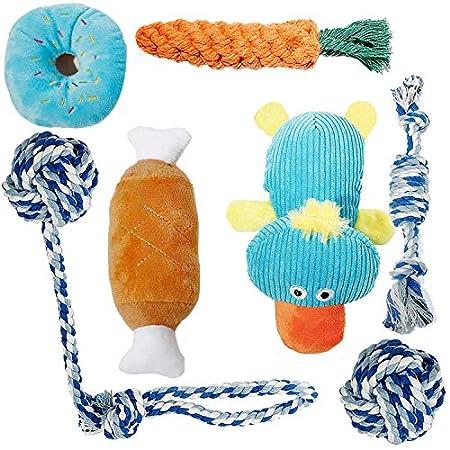 Toozey Welpenspielzeug – 7er Pack Dauerhaft Hundespielzeug für Welpe/Kleine Hunde. Welpen Zahnen Spielzeug Hund Seil Kauspielzeug und Quietschende Plüsch Hundespielzeug mit Wäschesack