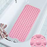 Bathtub Mat COCOCITY® Shower Mat Rubber Bath Mat Non-Slip Bath Mat,Tub Mat, Extra Long Non-slip Environmental TPR Rubber Bath Mat Shower, Machine Washable 100 cm X 40 cm Bath Mat for Kids, Mat for Bathroom, Shower, Bathtub (Blue, Pink, White)