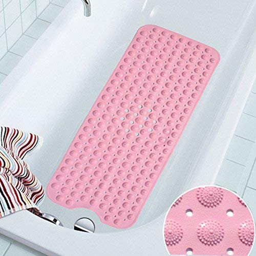 Anti-slip bath mat COCOCITY Shower mat Natural Rubber Anti-slip 100cm X 40cm Bath Mat Anti-slip Bath Mat With Suction Cups For Elderly Children (Pink)