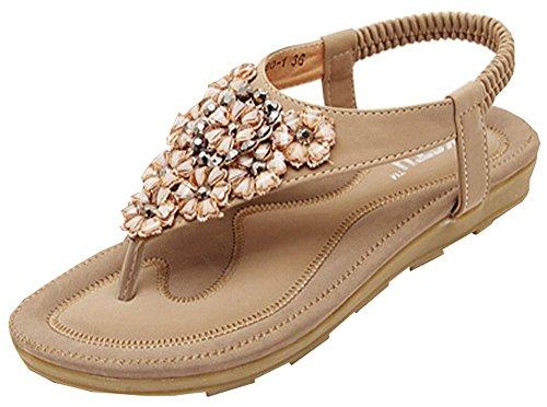 2015 Sommer-böhmische hohle Diamant-Perlen Sandalen Casual Komfort Sandalen Aprikose